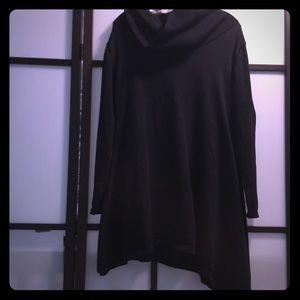 Asymmetrical black funnel neck tunic sweater L
